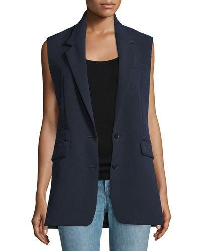 Helmut+Lang+Long+Two+Button+Vest+Navy+|+Clothing