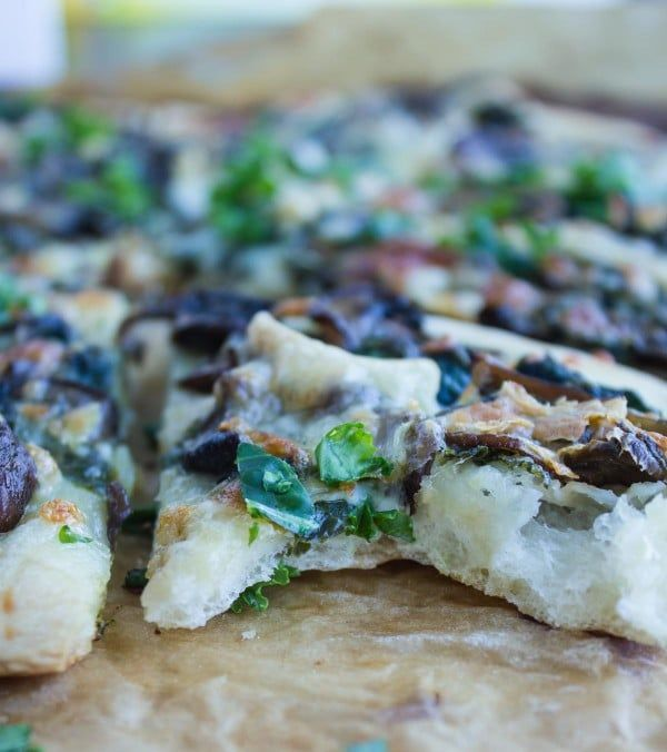 Kale Mushroom Brie Pizza • Two Purple Figs-This kale mushroom brie pizza recipe is what gourmet pizza stands for. It's perfectly flavoured, thin, rustic and light.