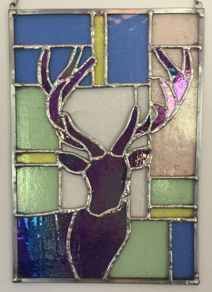 Stained Glass silhouette of a Red Deer Stag. A commission made by #dolittleglass for a special wedding present.