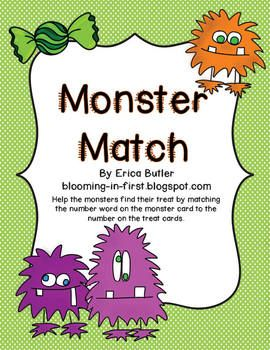 Monster Match Number Word Game FREEBIE
