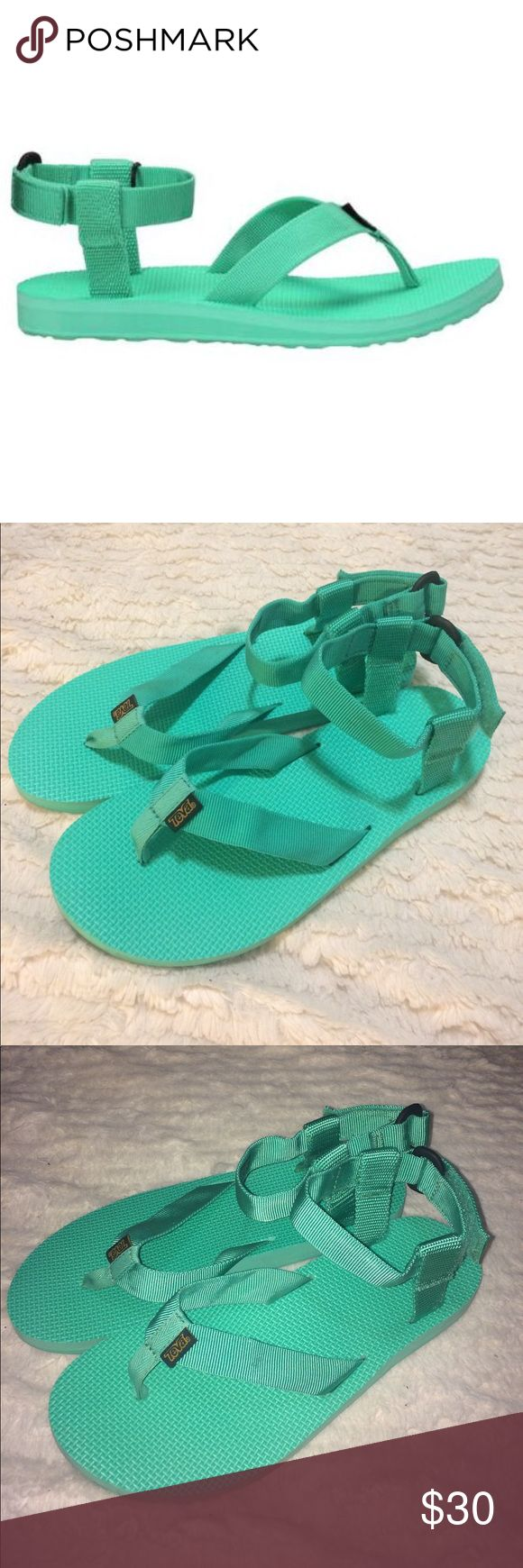 Teva teal flip flop ankle strap sandals size 9 Very cute Teva flip flops with an ankle strap. Only worn one time. Size 9. The perfect Tiffany blue mint teal color. Teva Shoes Sandals