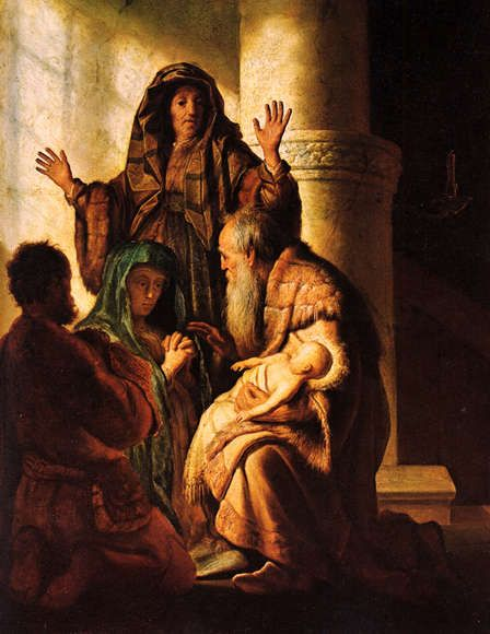 Rembrandt  Hanna and Simeon in the temple