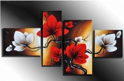 100% Hand-painted Best-selling Quality Goods Free Shipping Wood Framed on the Back Full Bloom in Spring Red Flowers High Q. Wall Decor Landscape Oil Painting on Canvas 4pcs/set Mixorde