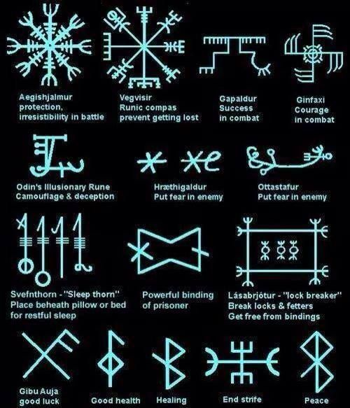 The signs and staves seen here can be found in Icelandic grimoires, some from the 17th century, some from later times though all of them seem to be related. The origin of this peculiar Icelandic magic is difficult to ascertain. Some signs seem to be derived from medieval mysticism and renaissance occultism, while others may be related to runic culture and Germanic belief in Thor and Odinn. Most magic mentioned in court records can be found in grimoires kept in various manuscript collections.