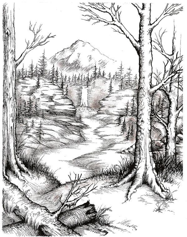 Valley -- Line Art by ...