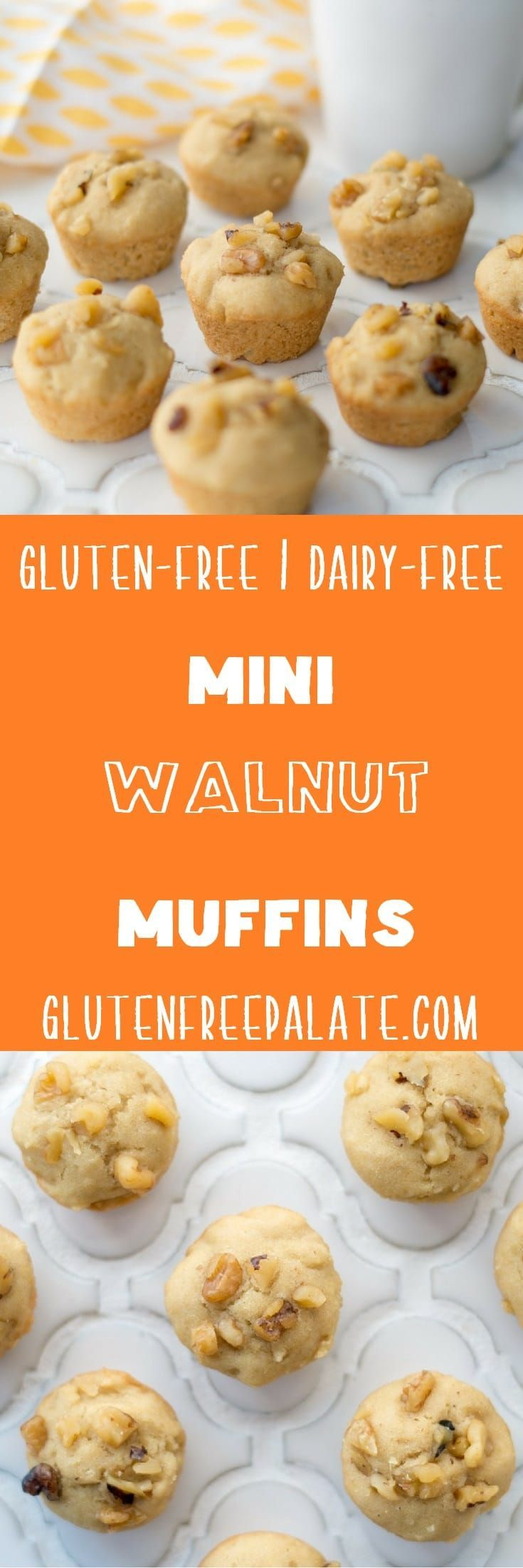 Gluten-Free Mini Walnut Muffins that are also dairy-free and refined sugar free. They are slightly sweet, with a lovely texture and loads of crunchy walnuts. via @gfpalate