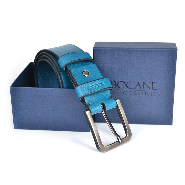 Curea Bocane din Piele Italiana, pentru Jeans, Albastru Marin - Bocane