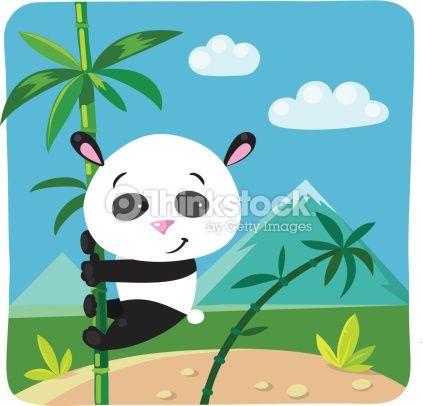 Vector Art : Little panda on bamboo