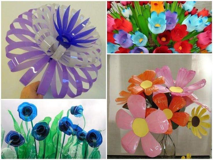 manualidad de flores hecha con botellas de plastico