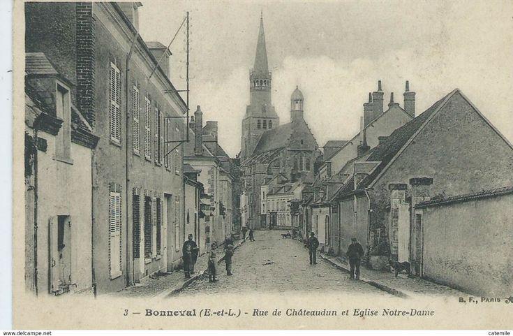 28, Eure Et Loir,BONNEVAL, Rue De Chateaudun Et Eglise Notre-Dame, Animations,Scan Recto-Verso - Dreux