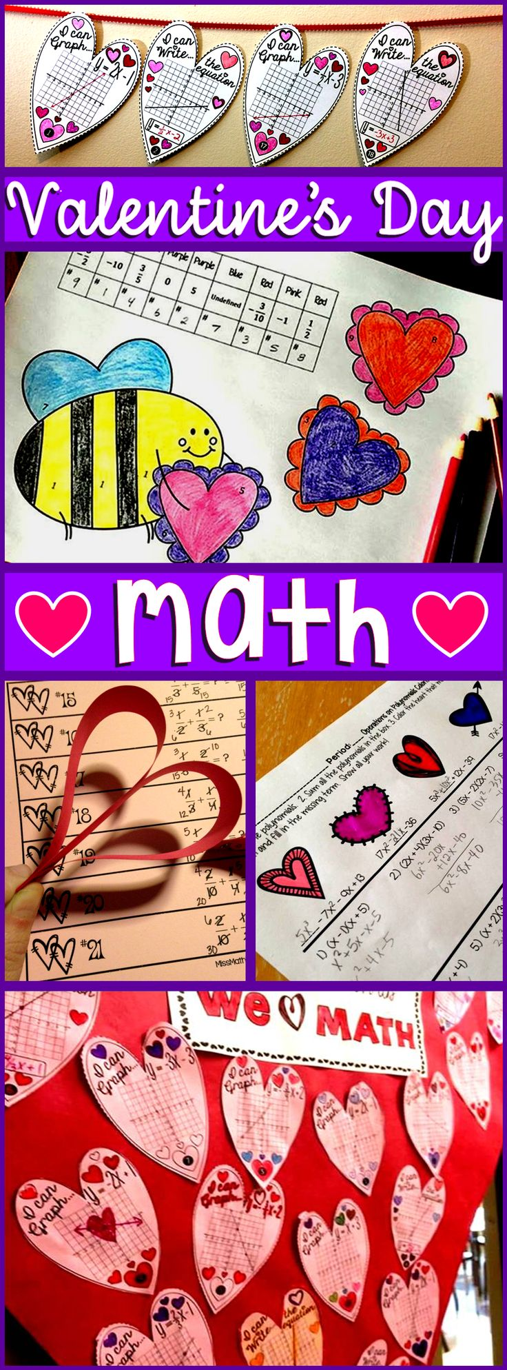 \Valentines Day can be SO tricky to navigate, especially when teenage hormones are involved! I asked some math friends if they had any fun, Valentine's Day math activities to keep students working on this highly distactible holiday. They sent over some great stuff for middle school math, including fractions, Algebra, including a linear equations math pennant, Algebra 2, including polynomials, and geometry, including the Pythagorean Theorem, all of which you can see below.