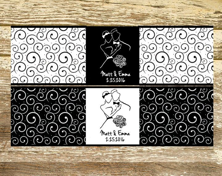 Water Bottle Labels - Wedding Water Bottle Labels, Black and White Wedding, Personalized Water Bottle, Personalized Wedding Labels by LittlePrintsOttawa on Etsy
