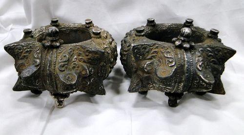 Antique tribal old solid silver museum bracelet anklet pair - tribalexport