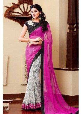 couleur rose georgette saree, - 57,00 €, #SariPasCher #SariIndien2016 #TenueBollywood #Shopkund