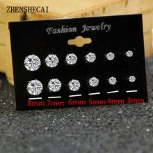 6 Pairs/Pack Brincos Mixed Stud Earrings For Women Crystal Ear Studs Fashion Simulated Pearl Jewelry Wholesale e022 //FREE Shipping Worldwide //