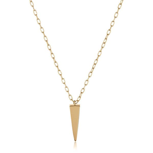 Women's Necklace by Melinda Maria Lea Necklace Gold ($83) ❤ liked on Polyvore featuring jewelry, necklaces, gold, chunky gold necklace, chunky chain link necklace, gold pyramid necklace, gold jewelry and long necklaces