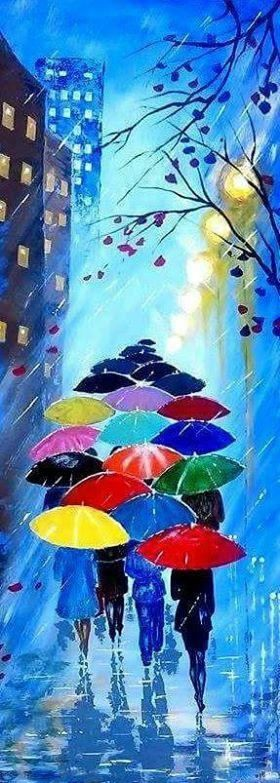 Resumen original pintura acrílico - noche de lluvia con sombrillas - bosque lluvia paisaje - colorido abstracto paleta cuchillo - listo para colgar Tamaño: 31,5 x 12 (80 x 30 cm) Para tamaños adicionales, por favor, Contacta conmigo! PINTURAS SIMILARES: