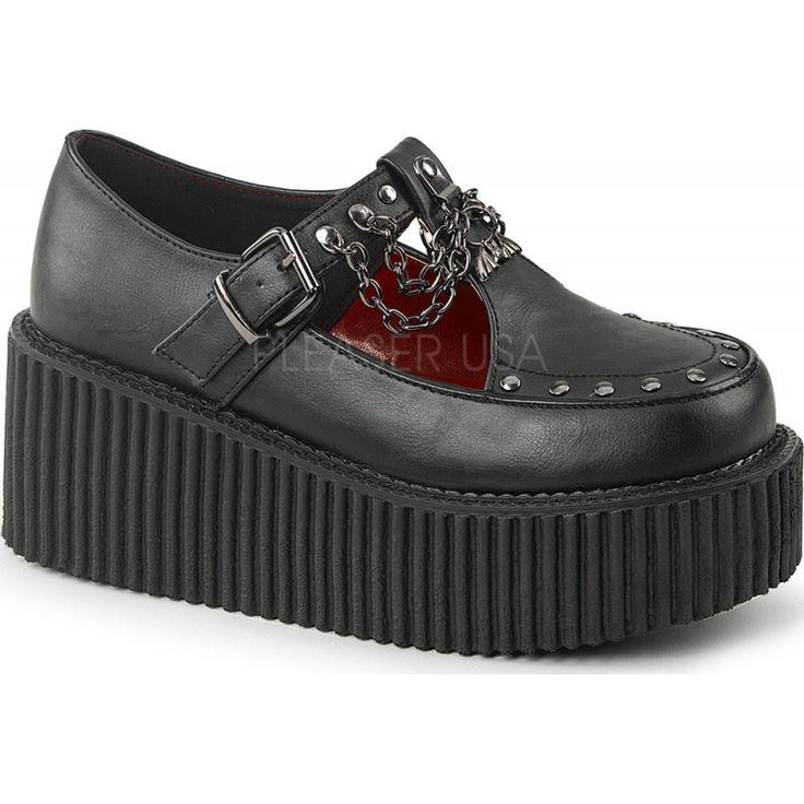 Demonia Shoes - CREEPER-215 Black Vegan Leather