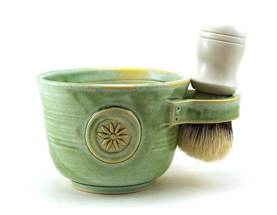 Womens Shaving Mug, Green Shave Mug with a Flower, Shaving Bowl, Gift for Her by MiriHardyPottery $38.00