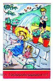 MARI PEPA. MARIA CLARET N SERIE LL. Nº 7. UN CHAPARRON INESPERADO.... (Postales - Niños)