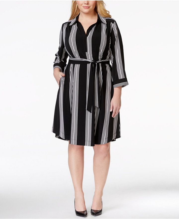 INC International Concepts Plus Size Belted Striped Shirtdress, Only at Macy's