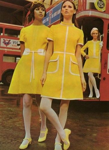 Bright yellow dresses with white stripes & yellow Mary Jane shoes 1960's