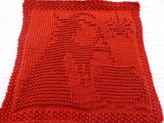 Dishcloth with witch design; pattern is charted. Can be used for double knitting as well. Will make beautiful potholder or patch for a blanket.