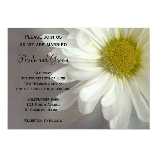 Soft White Daisy on Gray Wedding 5x7 Paper Invitation Card