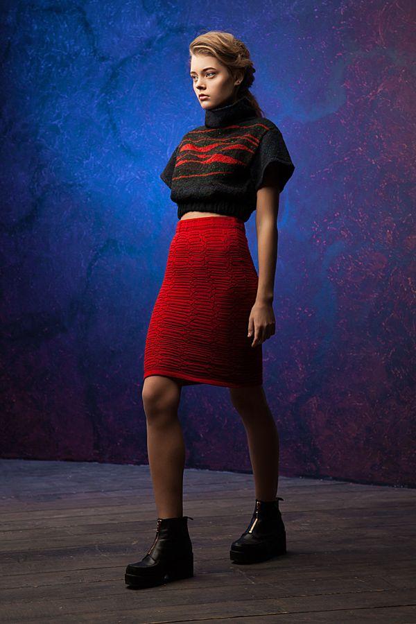Lookbook fall-winter 2014-15. Jumper - 230$ Skirt - 160$ #25twentyfive25 #knitwear #jumper #cropped #skirt #sexy #red #lookbook #fashion