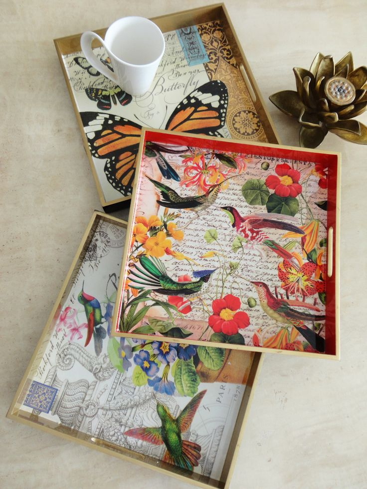 Decoupaged Trays #DecorbyMe @Debbie Arruda Fortner Rent.com