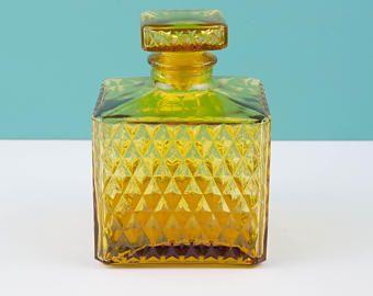 Vintage 1970s Amber Whiskey Decanter Japan Bourbon Bottle Glass Barware With Lid Midcentury Bar