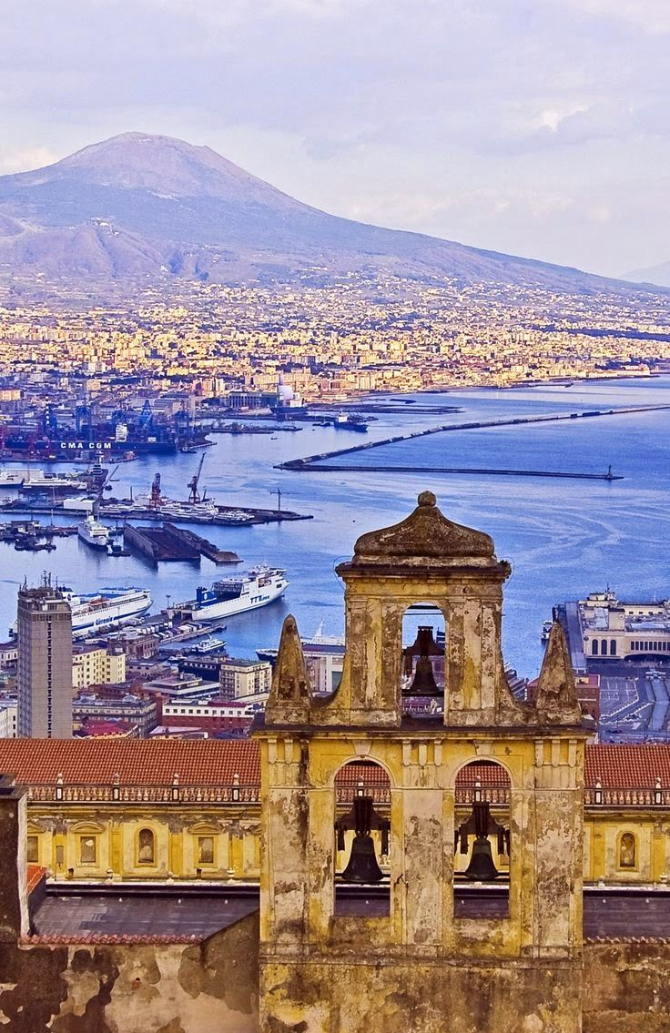 View of Mount Vesuvius & Gulf of Naples, Italy. The Certosa di San Martino is a former monastery complex, now a museum. Along with Castel Sant'Elmo that stands beside it, this is the most visible landmark of the city, perched atop the Vomero hill that commands the gulf. [http://en.wikipedia.org/wiki/Certosa_di_San_Martino]