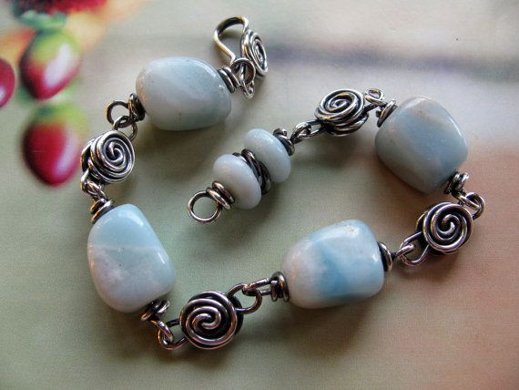 Sterling Silver Wire Wrapped Aqua Blue Gemstone Bracelet by ritamoehler