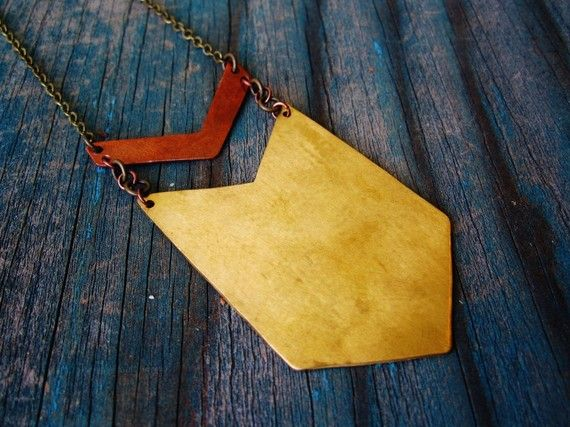 Chevron Necklace  Brass & Copper  extra long with by GATHERJEWELRY, $52.00