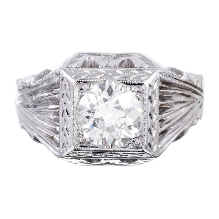 White Gold Gents Ring with Old European Cut Diamond | From a unique collection of vintage wedding rings at http://www.1stdibs.com/jewelry/rings/wedding-rings/
