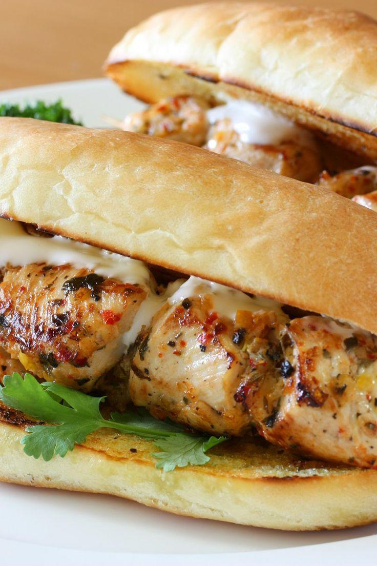 Grilled New York Style Italian Chicken Spiedie Sandwich Recipe