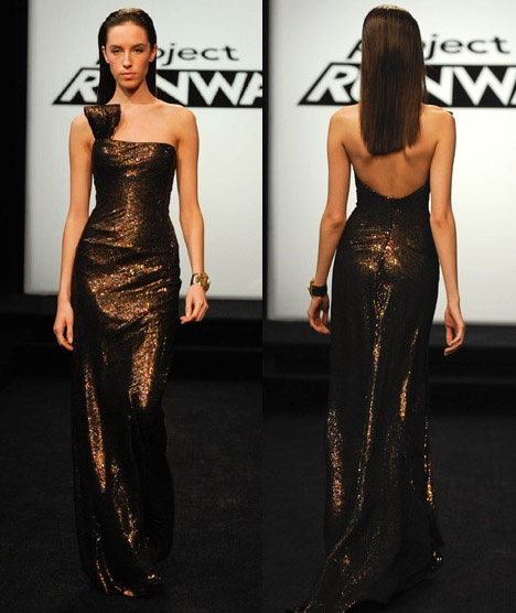 Project Runway Emilio Sosa dress. I think this dress is so shiny and pretty.