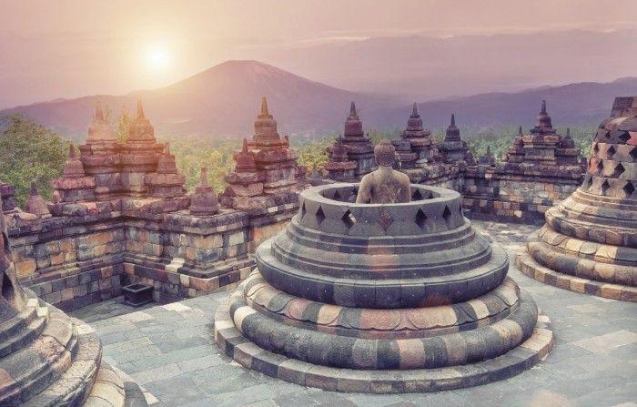 Borobudur in Java, Indonesia. Not far from Yogyakarta.
