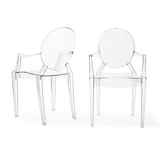 Corvus Irene Modern Clear Acrylic Dining Chair With Armrests Set Of 2 Free