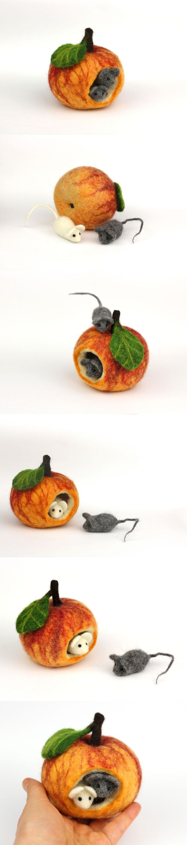 Fall decor felted apple cottage with mice