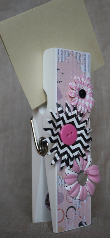 Pink & Black Extra Large Clothespin Photo/Note Holder
