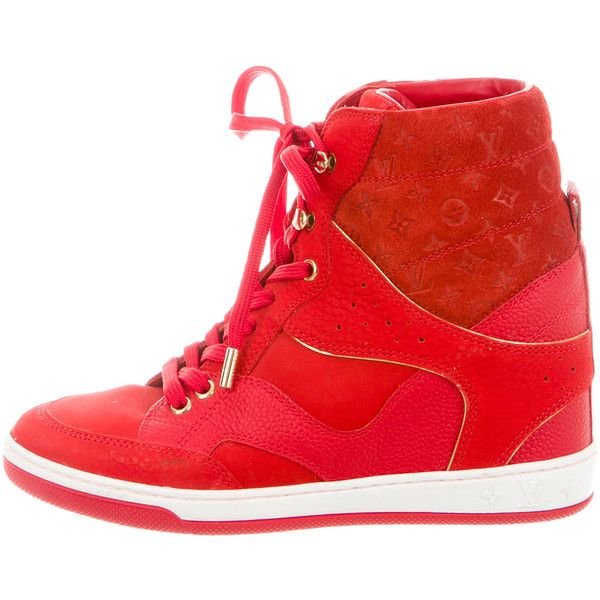Pre-owned Louis Vuitton Cliff Top Wedge Sneakers ($525) ❤ liked on Polyvore featuring shoes, sneakers, red, red wedge sneakers, red high tops, high-top sneakers, wedged sneakers and red sneakers