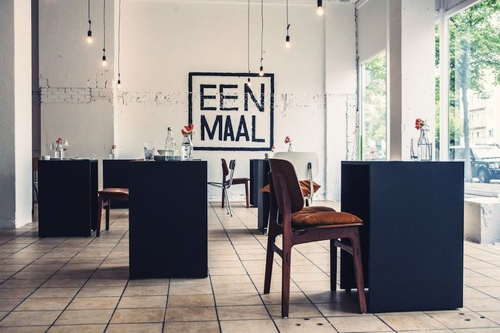 Eenmall (Amsterdam, Netherlands: 2013)  Marina van Goor's solo culinary experiment Eenmall is table-for-one testing ground. The idea is made appealing here with a minimal backdrop, carefully placed tables, and no wi-fi, features that reduce distraction and allow for a more focused, meditative dining experience. And other perk: no split checks.   Photo by Joep Niesink