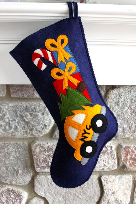 Handmade Wool Felt Christmas Stocking: Celebrate by MyPerennial