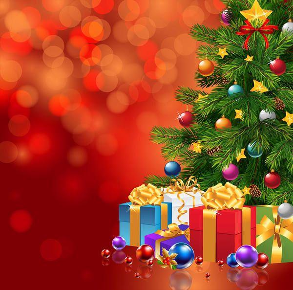 Piros karácsonyi háttér karácsonyfa és ajándékok