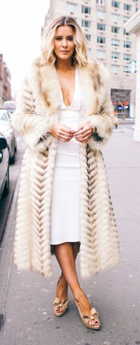 Chic In The City - Cream Faux Fur On White Outfit by What Courtney Wore | LadyLuxuryDesigns