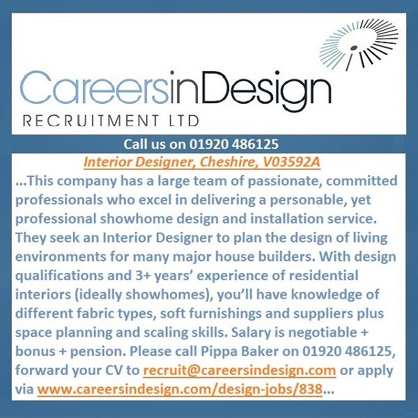 Interior Designer, Cheshire, V03592A. This company has a large team of passionate, committed professionals who excel in delivering a personable, yet professional showhome design and installation service. They seek an Interior Designer to plan the design of living environments for many major house builders. With design qualifications and 3+ years' experience of residential interiors (ideally showhomes), you'll have knowledge of different fabric types, soft furnishings and suppliers.