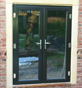 UPVC PVC FRENCH PATIO DOORS BLACK ON WHITE OPENING INWARDS 1601-1700MM WIDE