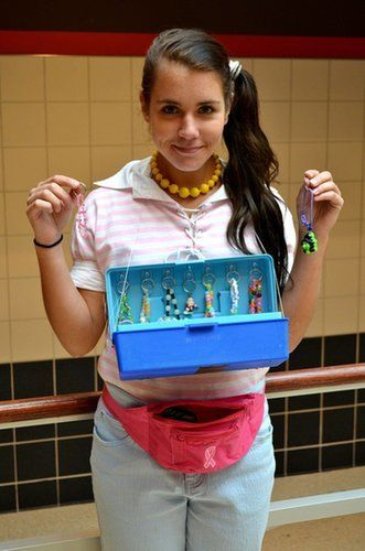 Unleash your inner entrepreneur and play the enterprising Deb. Get a pale pink- and white-striped polo shirt, side ponytail, pink fanny pack, and a plastic box with plastic jewelry to really nail the look.  Source: Reddit user endgame19