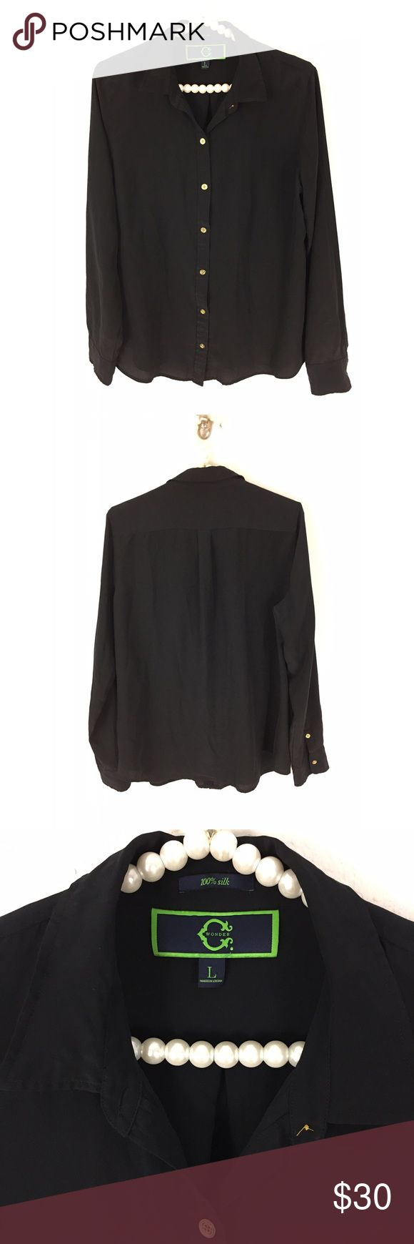 C Wonder/ Tori Burch Black Silk Button Down Sz L C Wonder / Tori Burch Black 100% Silk Button Down Shirt - gold tone buttons , in good pre worn condition. Sz Large , Bust is approximately 21 inches measured flat underarm to underarm. C Wonder  Tops Button Down Shirts